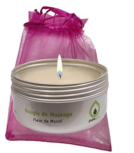 Bougie de massage sensuelle FLEUR DE MONOÏ 100% végétale, PURESPA By Purenail, pour un massage différent, livrée avec une bourse cadeau,