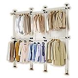 Barres de penderie télescopiques pour vêtements, à monter soi-même, N'abîme pas les murs ni le plafond, Convient aux plafonds jusqu'à 3,20m, 4barres verticales, 6barres transversales (3206)