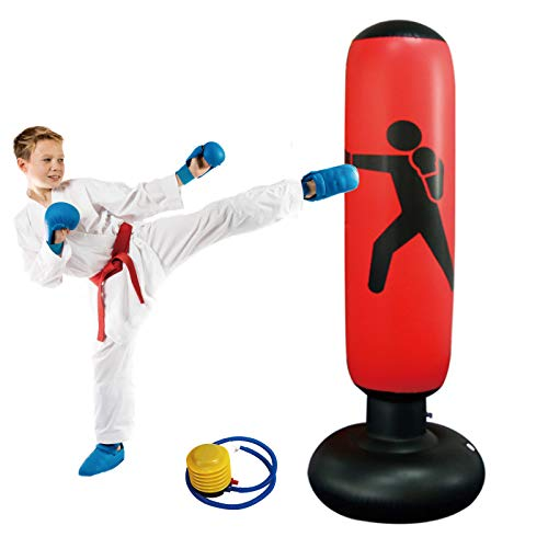 Saco de Boxeo de 160 cm, Saco de Boxeo para niños Saco de Arena de Columna de Vaso Independiente Inflable Saco de Kickboxing Saco de Arena para Entrenamiento con Bomba de Aire de pie