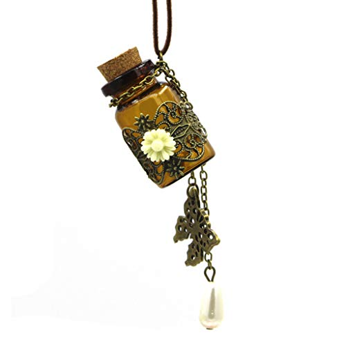 Ogquaton Vintage Hollow Flower Butterfly Pearl Wishing Bottle Pendant Long Chain PU Leather Necklace Stylish and Popular