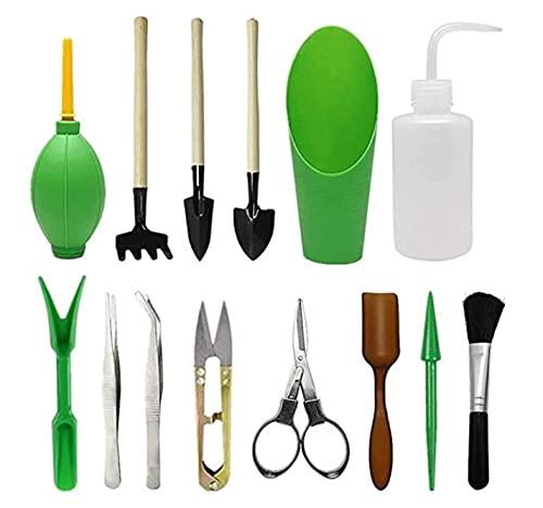 NN/A Mini Juego de Herramientas de Jardinería Sonwaha 14 Piezas Herramientas para Bonsai Kit Herramienta de Trasplante Suculentas Herramienta para Micro Cuidado de Las Plantas de Interior