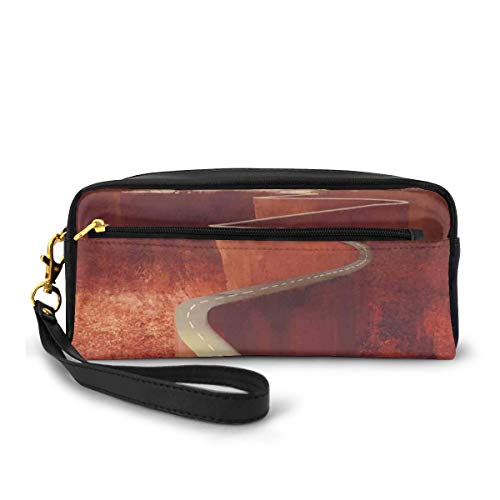 Pencil Case Pen Bag Pouch Stationary,Scenic Road with Truck Extreme Winding Curve on Cliffs Theme,Small Makeup Bag Coin Purse