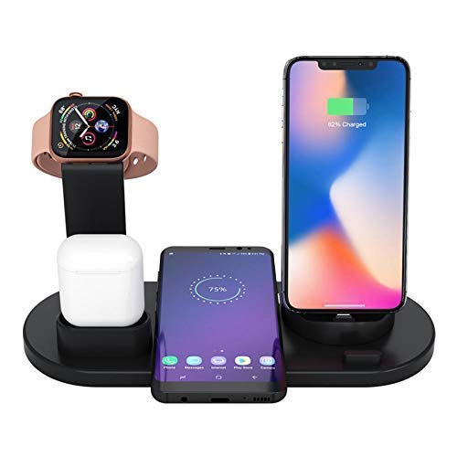 Wireless Qi Enabled 3 in 1 Multi-Function Charger Dock for Apple 12 Pro Max/11 Pro Max/SE/XS Max/XR/X, AirPods, Apple Watch(Magnetic Charger Needed), Samsung S9+/S8+/Note 9, Pixel 3 XL, LG V40/G7