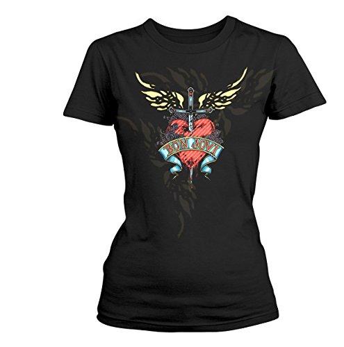 Bon Jovi Heart & Dagger Mujer Camiseta Negro XL, 100% algodón, Regular