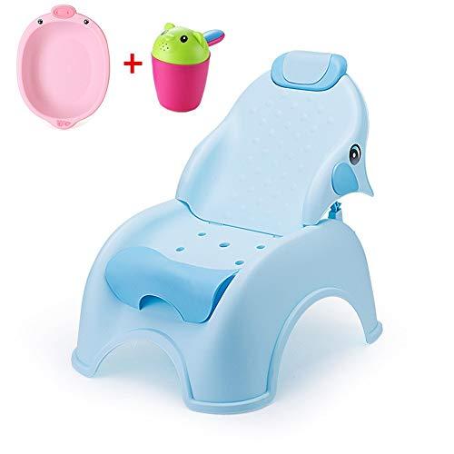 WOF Verstellbarer Kinder Shampoo Stuhl Klappstuhl Kinder Shampoo Stuhl Baby Shampoo Bett Kinder Shampoo Stuhl Klappbarer Verstellhocker für 1-10 Jahre (Color : Blue)