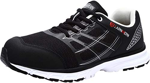 LARNMERN Steel Toe Work Shoes Men Safety Shoes Indestructible Lightweight Sneakers Breathable Tennis Hiking Mens Shoe L8061105 Black Spider