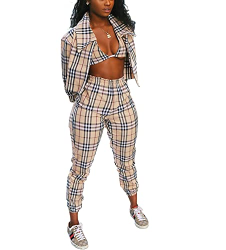 THLAI Women Casual Plaid 2 Piece Outfits Open Front Long Sleeve Blazer with Matching Bra and Long Pants Set 3 Piece Outfits