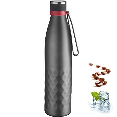 Westmark Isolier-/Thermo-Trinkflasche, hält 8 Std. warm/kalt, kohlensäurefest, 1000 ml, Rostfreier Edelstahl/Silikon/Kunststoff, BPA-frei, Viva, Anthrazit/Rot, 5284226A