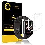 LK 6 stück Schutzfolie für Apple Watch Series 5/4 40mm und Series 3/2/1 38mm ,(Premium-Qualität) Displayschutzfolie Anti-Bubble [volle Abdeckung] HD Klar Folie