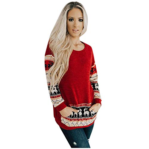 Review Women Long Sleeve Blouse Tunic Crew Neck Reindeer Snowflake Christmas Pullover Sweatshirt Shi...