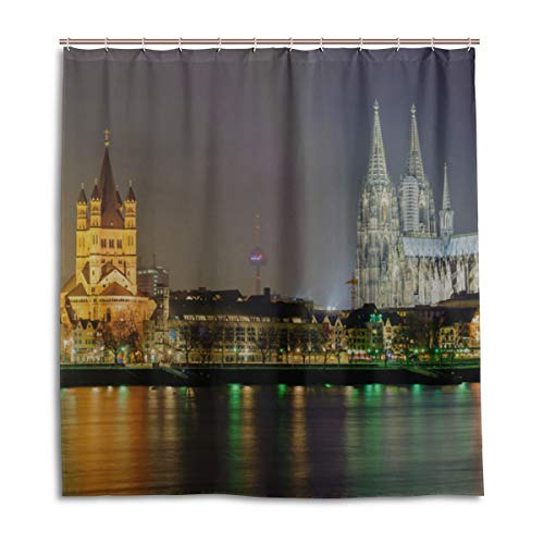 N\A Badezimmer Vorhang Bauernhaus Wunderschöne Romantik Köln Dom Bad Vorhang Bar 66 X 72 Zoll maschinenwaschbare wasserdichte Badezimmer Vorhänge