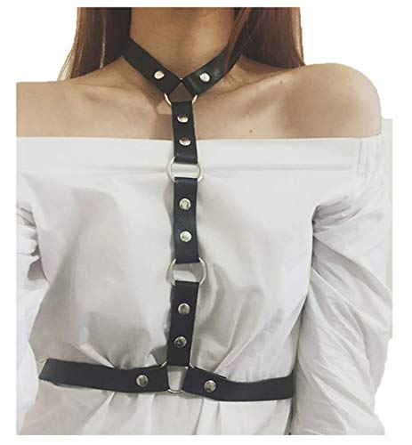 YSYANG Mujer Arnés de Pecho Punk Cinturón Ajustables Sujetador del Vendaje Cadena de lencería Cruzada Cosplay Cinturón Gótico