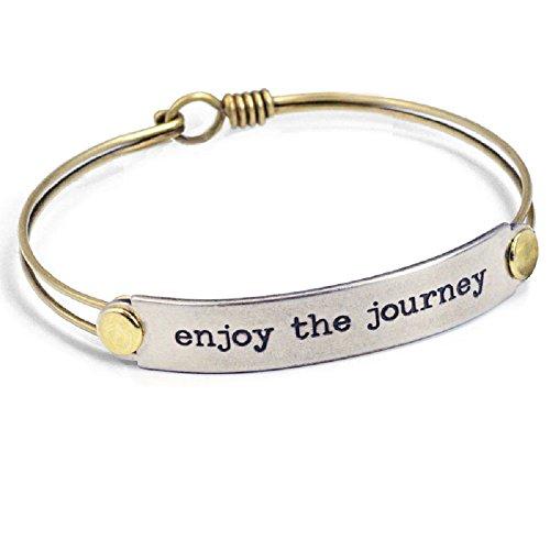 Sweet Romance Enjoy The Journey Inspirational Message Bar Bangle Bracelet - Graduation Gift