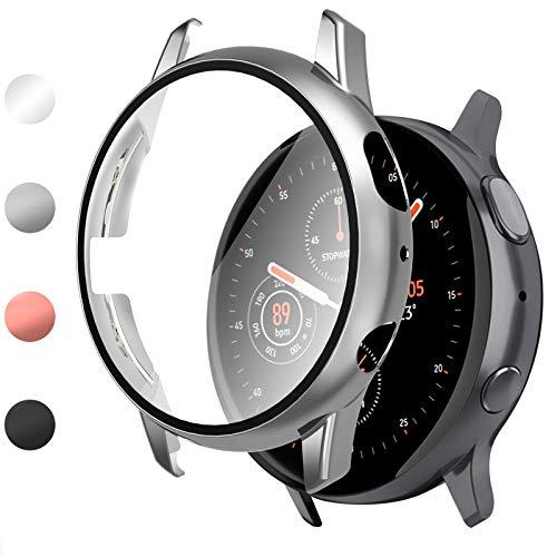 Vitty Hard Hülle mit Tempered Glass Screen Protector Kompatibel mit Samsung Galaxy Active 2 40mm/44mm, Schutzhülle mit galvanischer Beschichtung für PC All-Around Schutzhülle für Galaxy Watch Active 2