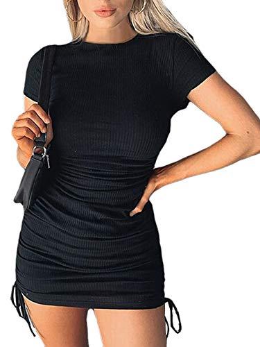 Vestido Sexy con Cordón de Manga Corta para Mujer Vestido Ajustado con Pliegues de Color Sólido de Moda (Negro, S)
