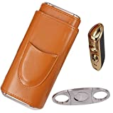 AMANCY Classy Cigar Case Kit with 3 Triple Jet Cigar Lighter and Cutter Great Gift Set