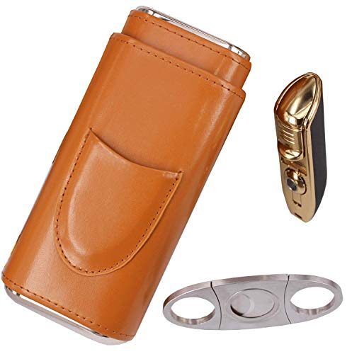 AMANCY Classy Cigar Case Kit with Cigar Lighter and Cutter Great Gift Set