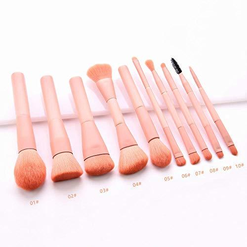 Maquillage Brosse 10 PCS/Ensembles Outils Multifonctionnel Cosmétique Brosse Maquillage Outils En Bois Fondation Cosmétique Sourcils Fard À Paupières Brosse-Rose_