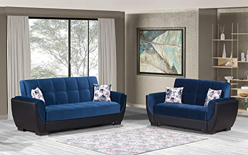 Ottomanson Sb 36 ' X 92 38 Air Emerald Blue/Black Fabric Upholstery Sleeper Sofabed With Storage,...