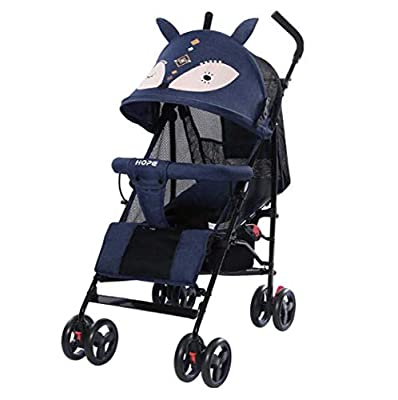 G.Z Cochecito de bebé de Dibujos Animados de Lujo, carruaje de Acero Ligero, reclinable y Sentado para niños Que Absorbe el Carrito de Baby Baby-streoller, Plegable,Azul