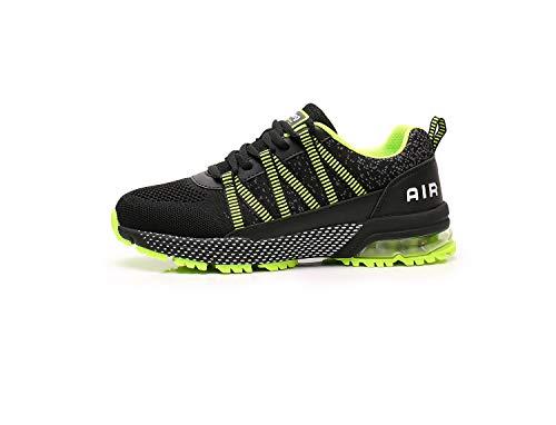 LIKAI Zapatos para Correr Zapatillas Deportivas Hombres Mujeres Zapatillas Ligeras Absorción de Golpes Antideslizante Gimnasio Fitness Correr Caminar Casual Green 34EU