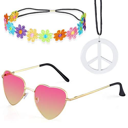 Beelittle Hippie Kostüm Set - 60er Jahre Retro Vintage Brille Friedenszeichen Halskette Sonnenblume Krone Haarband 60er Jahre Hippie Dressing Zubehörset (D)