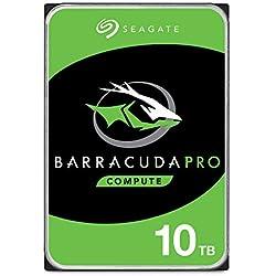 Seagate BarraCuda Pro, 10 TB, Hard Disk Interno, SATA 6 GBit/s, 3.5´´, 7.200 RPM, per PC Desktop, 2 Anni di Servizi Rescue (ST10000DM00044)