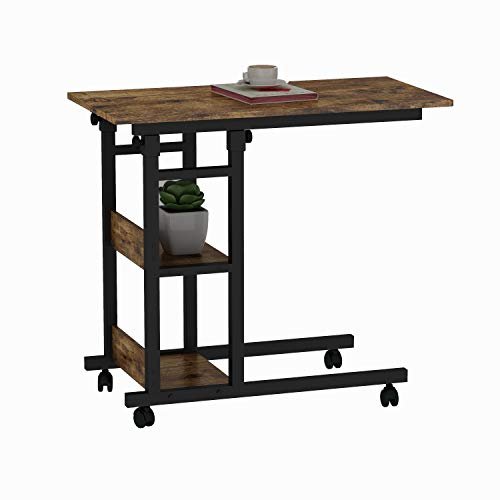 Up and Down Side Table on Wheels with Storage Shelves,Height Adjustable Mobile End Table Easy to Assemble C Table for Coffee Laptop(Brown)