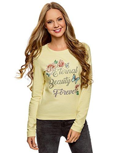 oodji Ultra Damen Baumwoll-Sweatshirt mit Druck, Gelb, DE 32 / EU 34 / XXS