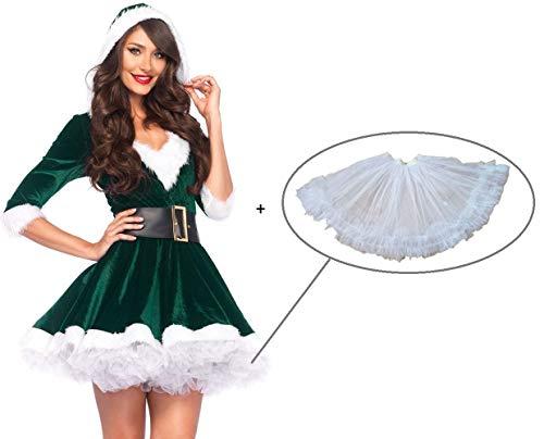 Snsunny Damen Weihnachtskostüm Mrs. Santa Claus Kostüm Weihnachtskleid mit Kapuze, Gürtel und Petticoat Christmas Party Weihnachtsfeier Cosplay Hoodie V-Auschnitt Dress Xmas Outfit (X-Large, Grün)