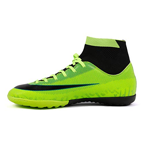 REBEST Botas de fútbol Zapatos de fútbol de uñas rotas Spikes hierba fútbol zapatos de entrenamiento unisex niños zapatos de fútbol, color Verde, talla 40 2/3 EU