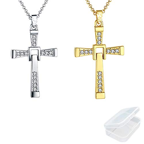 PPX 2pcs Fast & Furios Necklace Toretto Cross with Brilliant Rhinestones with Storage Box Gold and Silver