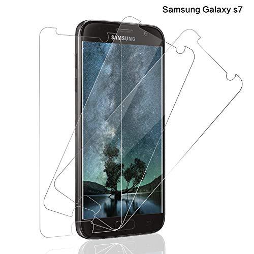 SNUNGPHIR® Cristal Templado Samsung Galaxy S7, [3-Pack] Protector Pantalla Samsung Galaxy S7 Cristal Templado [2.5d Borde Redondo] [9H Dureza] [Alta Definición] [Anti-Arañazos] [Anti-Huella Digital]