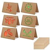 Tarjeta navideña,tarjetas de regalo de felicitación de feliz Navidad Kraft de 12 piezas con sobres de 12 piezas Tarjetas navideñas con astas, hojas, guirnaldas,diseño de campanas,tarjetas de Navidad