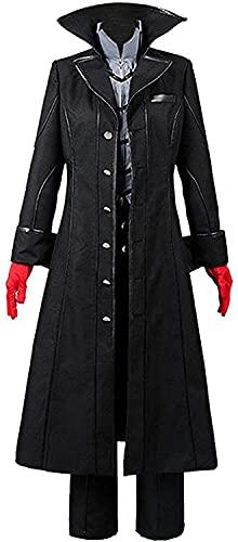 YBINGA Disfraz para cosplay de Sky Persona 5 estrellas bailando Noche Joker Protagonista Akira Kurusu Cosplay Coat traje de Halloween Party Cosplay Accesorios (Color: Negro, Talla: XL)