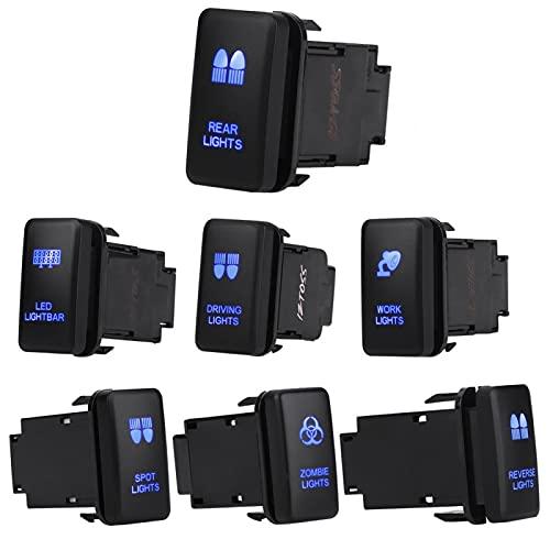 Interruptor basculante, interruptor basculante azul de 12 V, encendido automático, apagado automático para Hilux Landcruiser, barra de luces LED(BARRA DE LUZ LED)