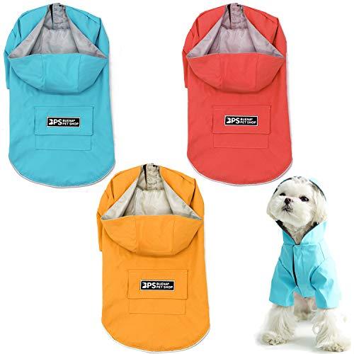 BPS Chubasqueros Impermeables para Mascotas Perros Impermeables con Capucha Bolsillo para Perro Pequeño Mediano y Grande con Material 100% Poliéster (XL, Rojo) BPS-9703RJ