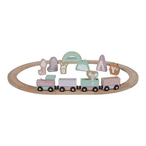 Little Dutch 4422 Holz-Eisenbahn mit Schienen, adventure pink, ab 3 Jahren