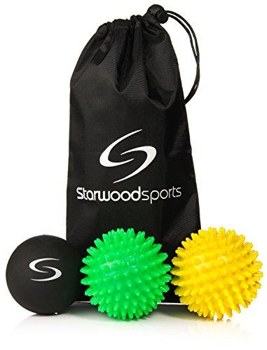 Starwood Sports Massage Ball Set - 6 cm Lacrosse Ball, 7 cm Very Firm Spiky, 7 cm Medium Firm Spiky + Carry Bag