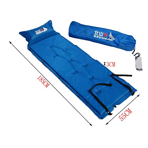 Matelas autogonflant Pad léger avec taie d'oreiller, bleu