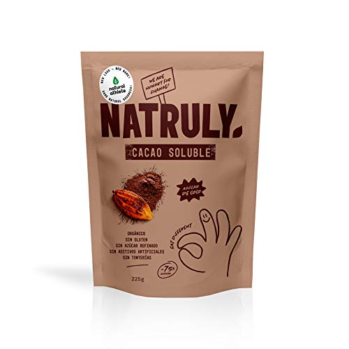 NATRULY Cacao en Polvo Sin Azúcar Refinado, Cacao Soluble Orgánico, Sin Gluten, Sin Lactosa, Solo 25% Azúcar de Coco - 325gr
