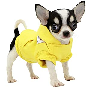 LOPHIPETS Dog Cotton Hoodies Sweatshirts for Small Dogs Chihuahua Puppy Clothes Cold Weather Coat-Yellow/XXS