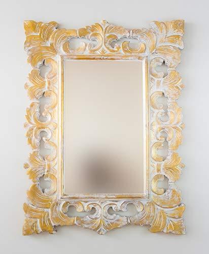 Rococo Espejo Decorativo de Madera Colonial Classic de 60x80cm en Blanco y Pan de Oro