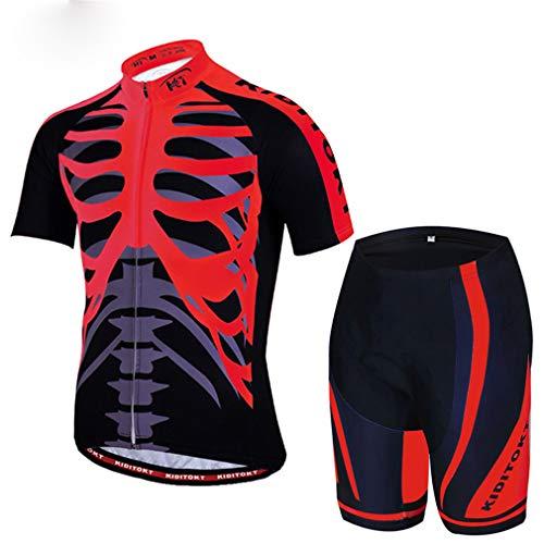 LBYSK Jersey de Ciclismo, Jersey de montaña Jersey MTB Jersey, Traje de Ciclismo Ropa Deportiva Seca rápida, Jerseys de Ciclismo para Hombre Trajes de Ciclismo de Manga Corta,Rojo,XXL
