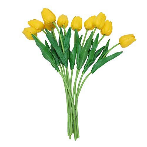 ROSELI 10pcs Flor del Tulipan Amarillo De Latex De Tacto Real con Las Hojas por Un Ramo para Ddecorar La Boda