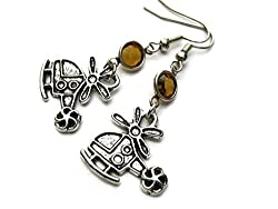 gifts for pilots ~ helicopter earrings