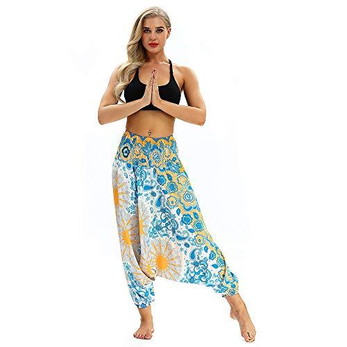 Pottoa Harembroek voor dames, losse casual joggingbroek, yogabroek, baggy boho, Aladdin, jumpsuit, broek, gym, sport leggings
