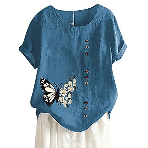 Camiseta de verano para mujer, blusa de manga corta, cuello redondo, diseño de mariposas, camiseta suelta