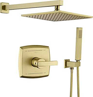 "Shower System, Shower Faucet Set with Dual Functions, Bathroom Luxury Brass Brushed Gold with 10"" Rain Shower Head Wall Mounted Shower Set All Metal, Brushed Gold (Rough in Valve Included)"