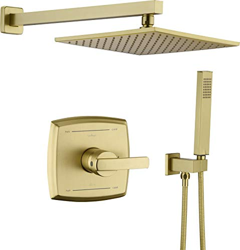 Shower System, Shower Faucet Set with Dual Functions, Bathroom Luxury Brass Brushed Gold with 10' Rain Shower Head Wall Mounted Shower Set All Metal, Brushed Gold (Rough in Valve Included)